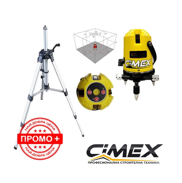 Лазерен нивелир Cimex 1H4V + статив