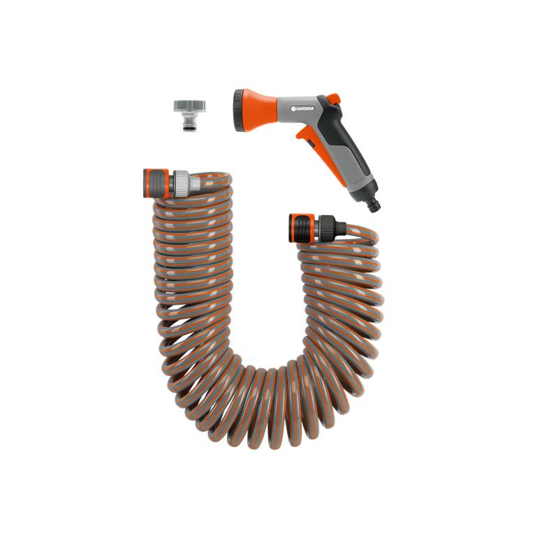 Комплект спираловиден маркуч и съединители - 10 м Gardena (4647)