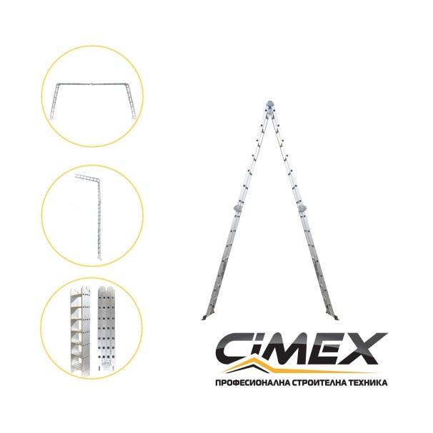 Мултифункционална алуминиева стълба CIMEX 8м