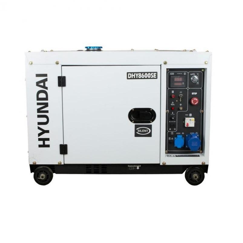Дизелов генератор обезшумен Hyundai DHY 8600SE - 6,3 kW, ел. стартер