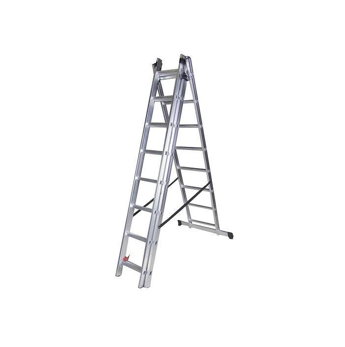 Трираменна алуминиева стълба Bisonte STR308 - 2.25м