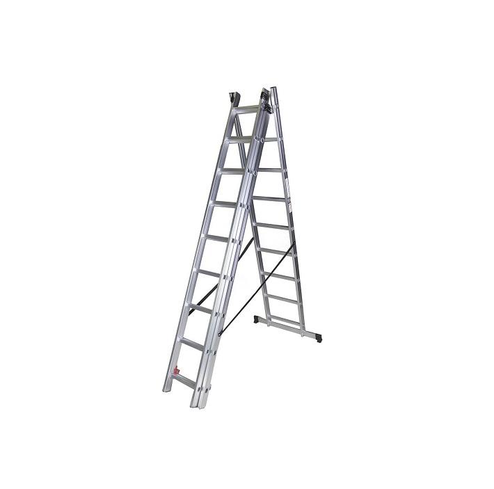 Трираменна алуминиева стълба Bisonte STR309 - 2.53м