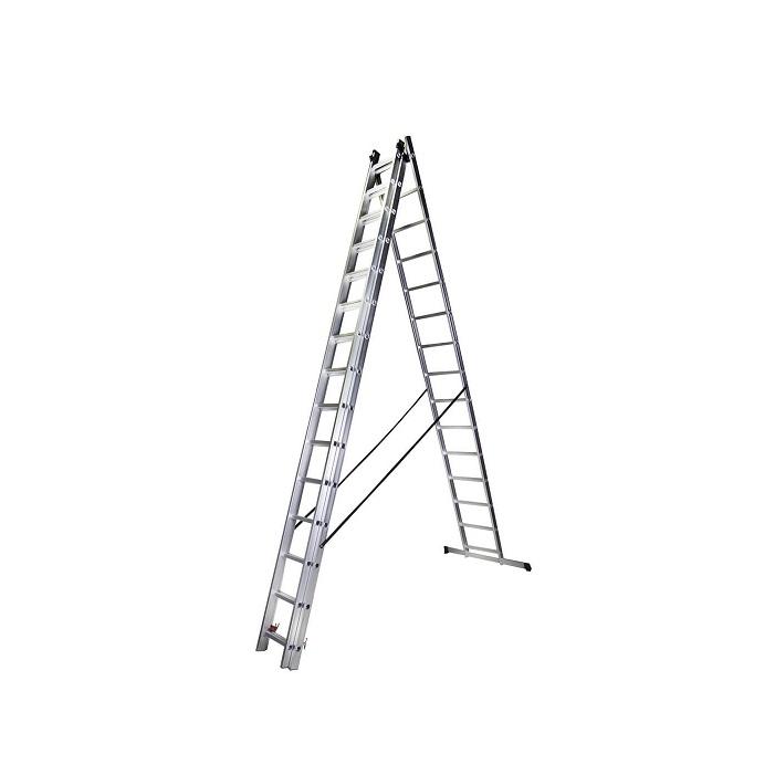Трираменна алуминиева стълба Bisonte STR315 - 4.13м