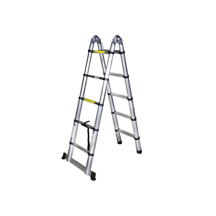 Двойна телескопична алуминиева стълба Bisonte STR3032 - 3.2м
