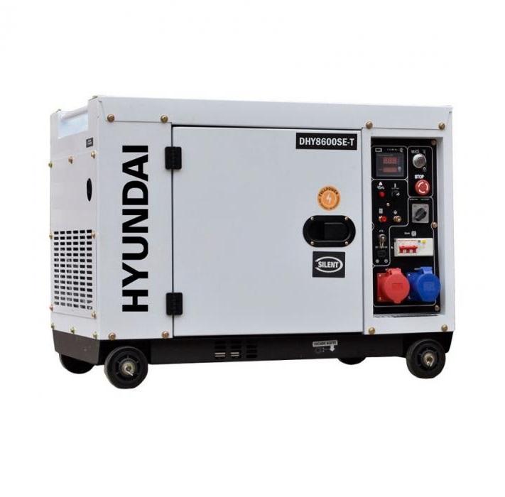 Дизелов генератор, трифазен/монофазен, обезшумен Hyundai DHY 8600SE-T - 7,9 kVА / 6,0 kW, ел. стартер